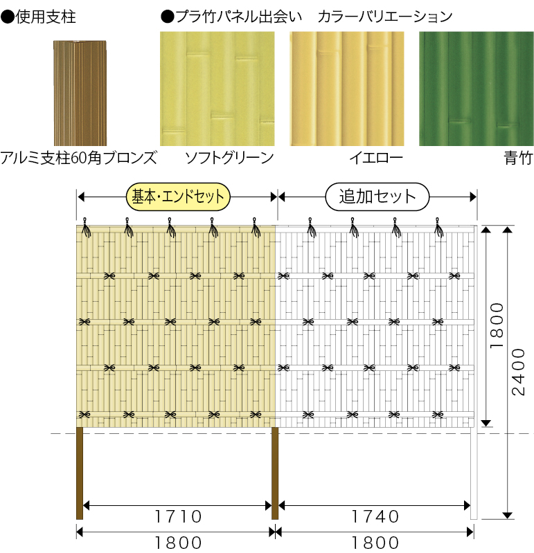 エイコー竹垣セット16型 建仁寺垣Ⅱ型