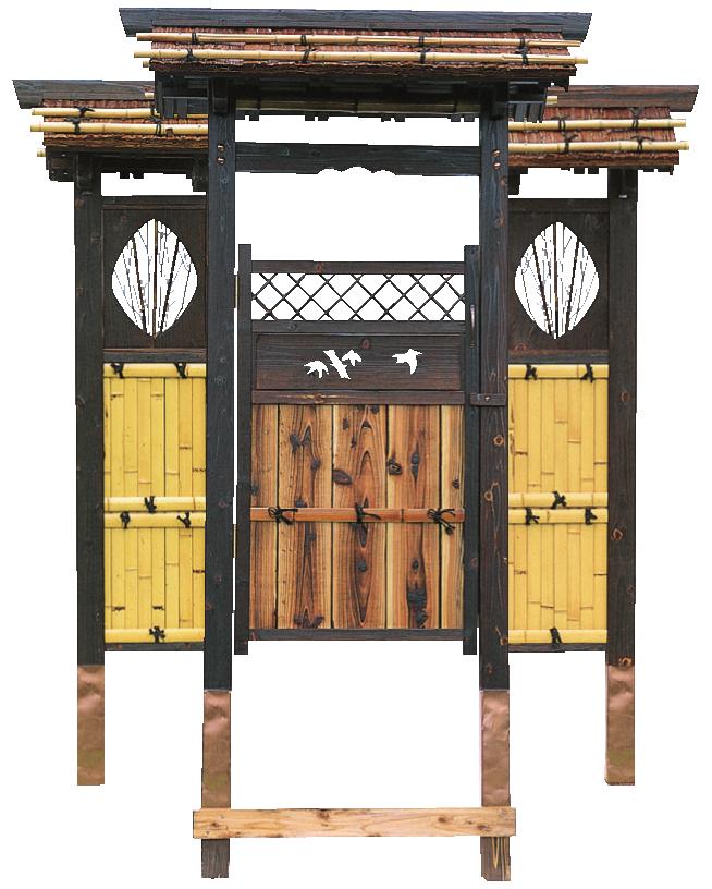 庭門 角柱片開Ⅱ型 両袖付