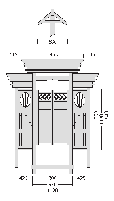 庭門 角柱観音開Ⅱ型 両袖付 図